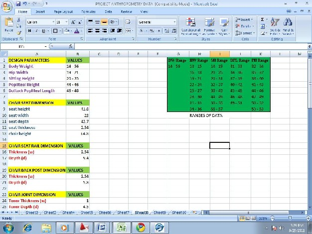 Excel Interface Utilization In Automation Of Design